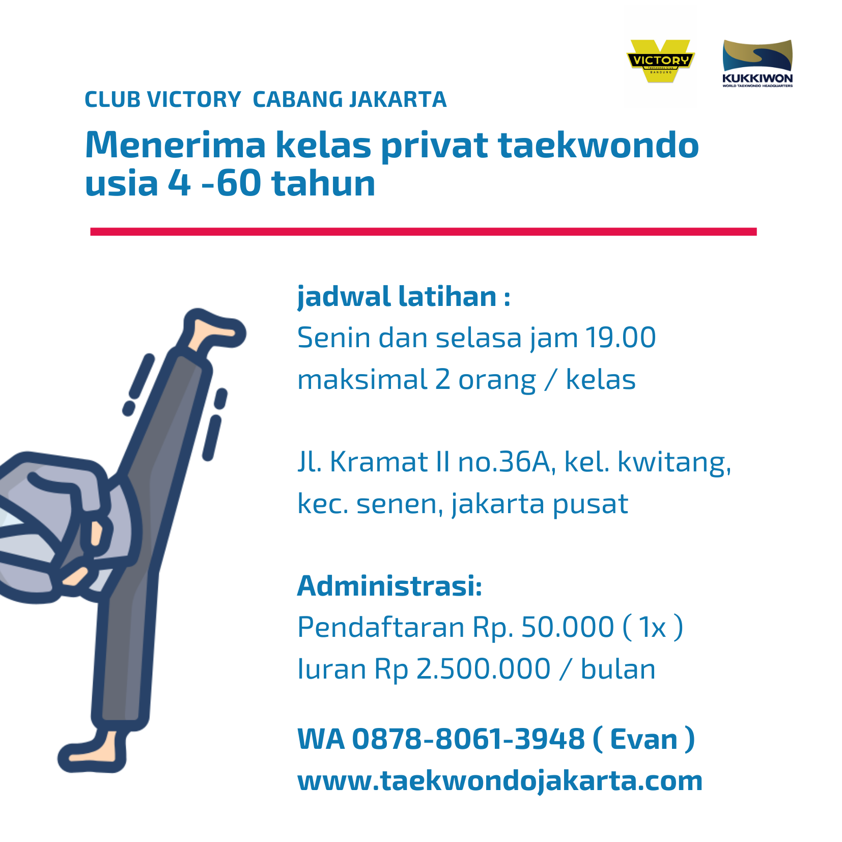 Taekwondo jakarta kelas privat